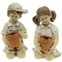 Gartenfigur Junge/Mädchen mit Topf 40cm