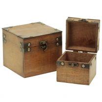 Holzbox hellbraun 14x14x12,5cm
