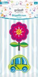 Bügelflicken Kinder Blume/Auto
