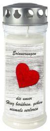 """Gedenk-Kerze (groß) """"Erinnerungen die unser Herz berühren"""""""