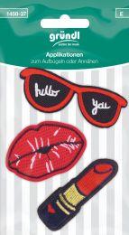 Applikation Aufbügler Lippen/Sonnenbrille/Lippenstift