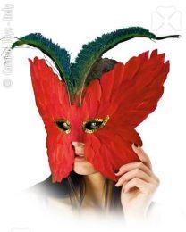 Augenmaske mit Federschmuck (rot)