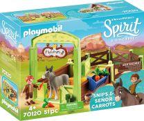 Playmobil Spirit Pferdebox Snips & Herr Karotte