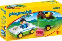Playmobil 1.2.3 PKW mit Pferde-Anhänger