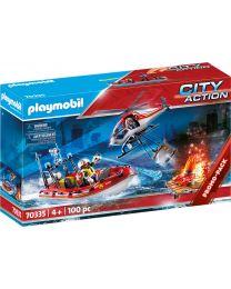 Playmobil City Action Feuerwehreinsatz mit Heli und Boot