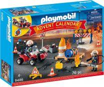 Playmobil Adventskalender Feuerwehreinsatz auf der Baustelle