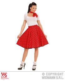 50's Girl Polka-Rock und Halstuch (rot/schwarz)