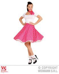50's Girl Polka-Rock und Halstuch (rosa/weiss)
