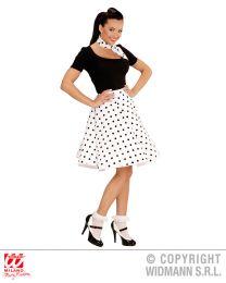 50's Girl Polka-Rock und Halstuch (weiss/schwarz)