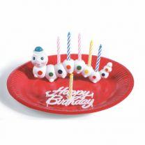 Kerzenhalter Würmli mit 6 Kerzen und Happy Birtday Schild