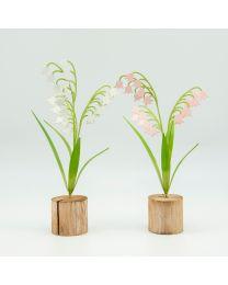 Blume Metall auf Holzsockel H27cm