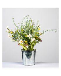Deko-Wiesenblumen im Metalltopf H38cm