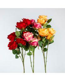 HAU Seidenblumen Rose 6 Blüten 70cm
