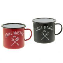 """Emaille-Becher """"Grill Master"""" mit Henkel 10cm"""