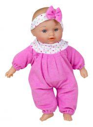 "Babypuppe ""Lissi"" sitzend 30cm rosa od. grün"