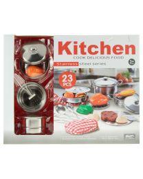 Kochservice-Set aus Metall mit Lebensmitteln