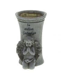 Grabdeko Vase mit Engel 19cm