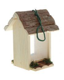 Vogelfutterhaus mit Rindendach 16x16x23cm