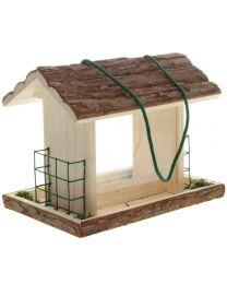 Vogelfutterhaus mit Rindendach 27x18x21cm