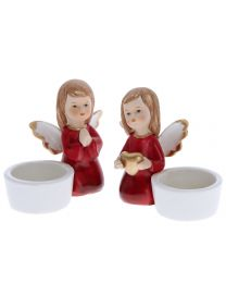 Engel kniend rot mit Teelichtalter 9cm