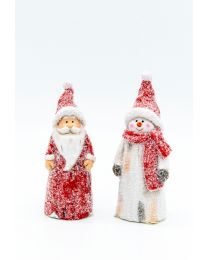 Deko-Schneemann/Santa 13,6x5,3cm