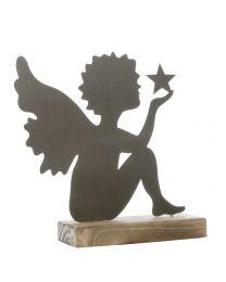 Engel sitzend auf Sockel 23x21,5x6cm