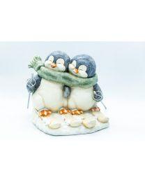 Deko-Pinguin-Paar auf Schi 29x31,5x30cm