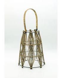 Bambus Laterne mit Glaseinsatz H34cm