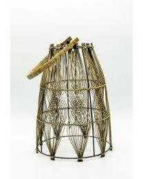 Bambus Laterne mit Glaseinsatz H42cm