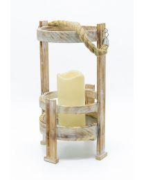 Laterne Holz auf Fuß mit LED-Kerze 34x18,5cm