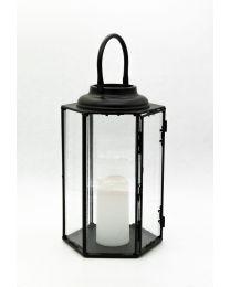 Windlicht 6-eckig mit LED-Kerze 35,5x22cm