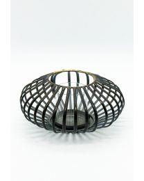 Teelichthalter Metall schwarz 15,5x22cm