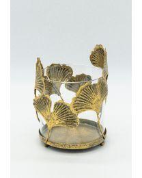 Windlicht Glas mit Metall-Blätter gold 17x13cm