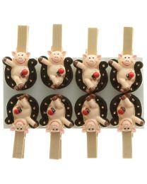 Hufeisen mit Schweinchen auf Clip 8er Packung
